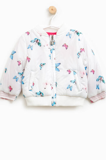 Crew-neck down jacket with butterfly pattern, Blue/Pink, hi-res