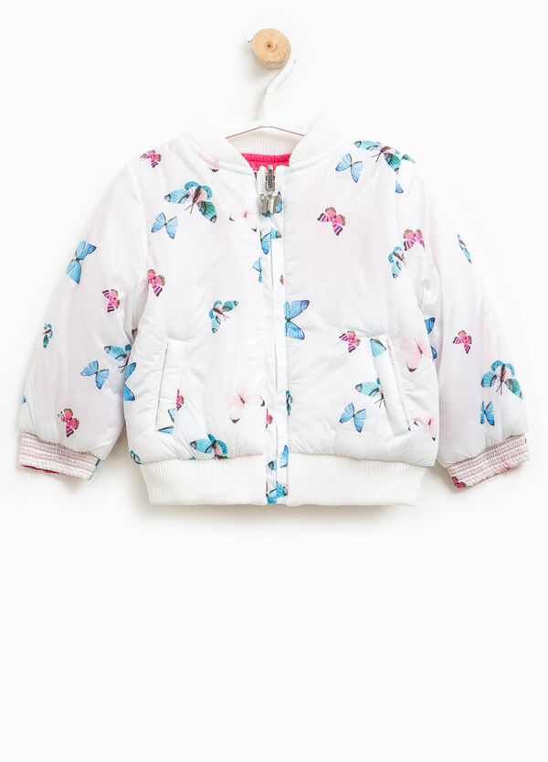 Crew-neck down jacket with butterfly pattern | OVS
