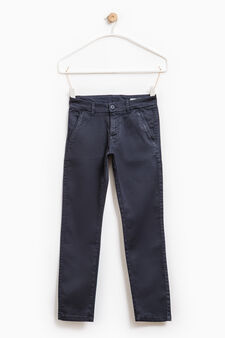 Solid colour stretch cotton trousers, Blue, hi-res