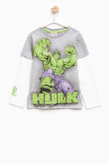 T-shirt cotone maxi stampa Hulk, Bianco/Grigio, hi-res