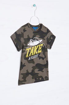 100% cotton camouflage T-shirt, Green, hi-res