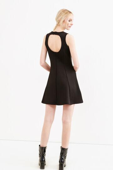 Short stretch dress with back opening, Black, hi-res