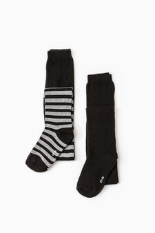 Two-pair pack solid colour and striped tights, Black/Grey, hi-res