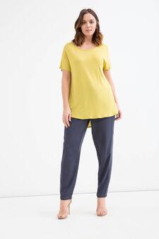 Curvy viscose T-shirt with pocket., Yellow, hi-res