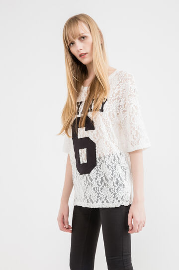 Lace T-shirt with letter patches, White, hi-res