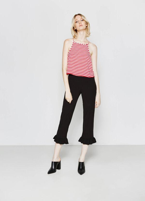 Pantaloni crop stretch con volant | OVS