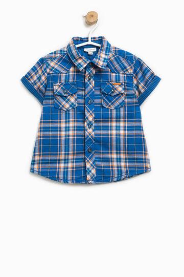 Short-sleeved shirt with tartan pattern, Blue/Orange, hi-res