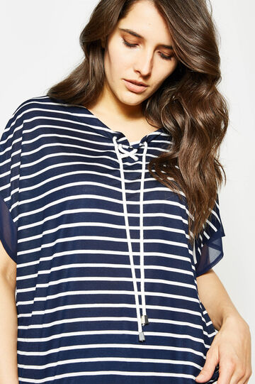 Curvy striped T-shirt in stretch viscose, White/Blue, hi-res