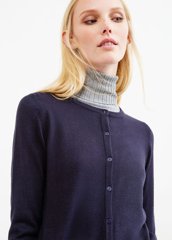 Solid colour thin ribbed cardigan | OVS