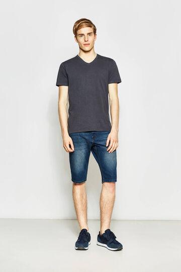 Straight-fit denim Bermuda shorts