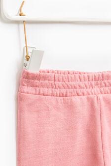Solid colour cotton blend joggers, Pink, hi-res