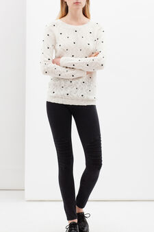 Knitted pullover with contrasting pattern, White/Black, hi-res