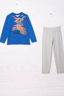 V-neck pyjamas in 100% cotton, Royal Blue, hi-res