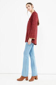 T-shirt misto cotone a maniche lunghe, Nero/Rosso, hi-res