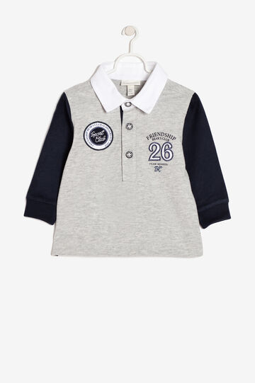 Polo shirt with embroideries, Blue/Grey, hi-res