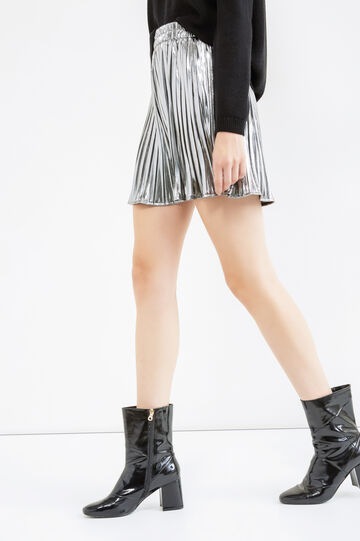 Pleated shorts with elasticated waistband, Grey/Silver, hi-res