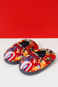Avengers pattern slippers, Grey, hi-res