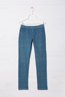 Jeggings cotone stretch fantasia, Blu chiaro, hi-res