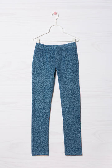 Patterned jeggings in stretch cotton, Soft Blue, hi-res