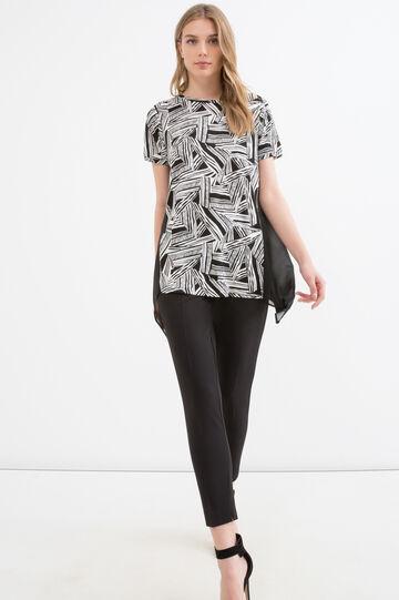 Patterned T-shirt in 100% viscose, Black/White, hi-res