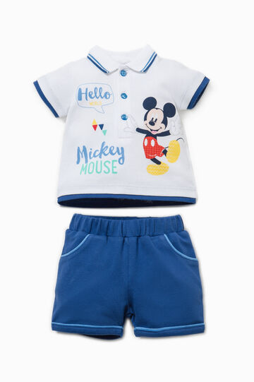 Mickey Mouse polo shirt and shorts set, White/Blue, hi-res