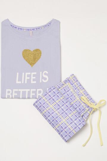 Tartan pyjamas in 100% cotton, Lilac, hi-res