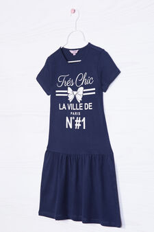 Printed dress in 100% cotton, Blue, hi-res