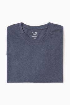Cotton undershirt with crew neck, Denim Blue, hi-res