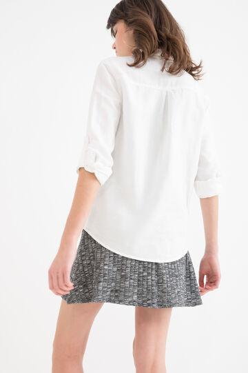 Camicia misto lino tinta unita, Bianco latte, hi-res
