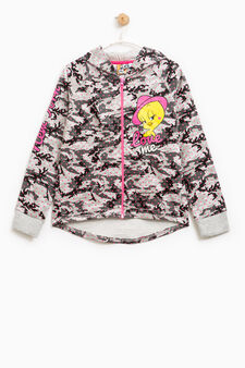 100% cotton sweatshirt with Tweetie Pie print, Grey, hi-res