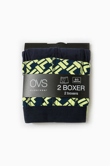 Two-pack solid colour and patterned boxer shorts, Blue/Green, hi-res