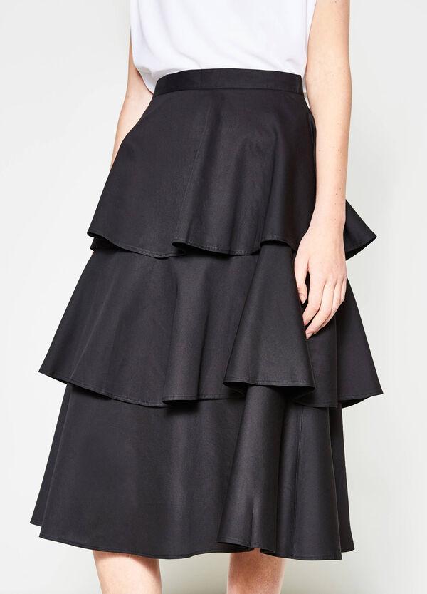 Solid colour skirt with flounces   OVS