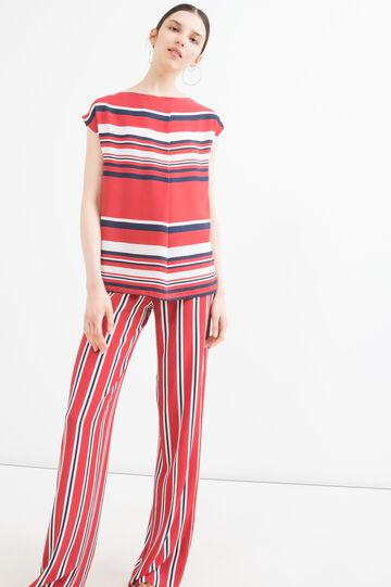 Blusa stretch stampa a righe, Bianco panna, hi-res
