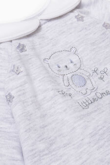 Solid colour onesie with feet., Grey Marl, hi-res