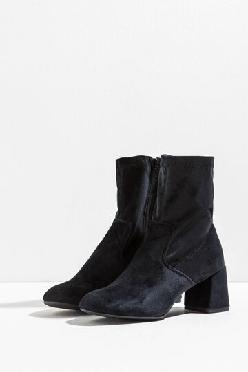 Velvet ankle boots with chunky heel, Black, hi-res
