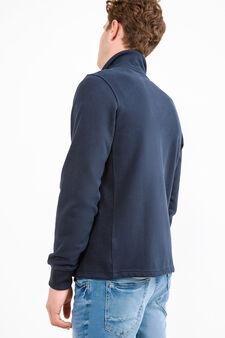 G&H embroidered sweatshirt in cotton blend, Navy Blue, hi-res