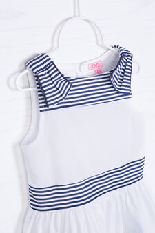 Striped pattern dress in 100% cotton, White/Blue, hi-res
