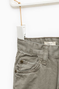 Solid colour 100% cotton trousers, Sage Green, hi-res