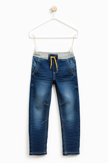 Jeans stretch con vita elasticata, Blu scuro, hi-res