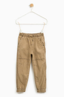 100% cotton ribbed trousers, Beige, hi-res