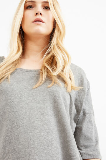 T-shirt pura viscosa tinta unita Curvy, Grigio melange, hi-res