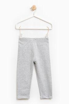 Solid colour cotton blend joggers, Grey Marl, hi-res