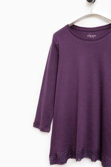 Smart Basic cotton T-shirt with lace, Purple, hi-res