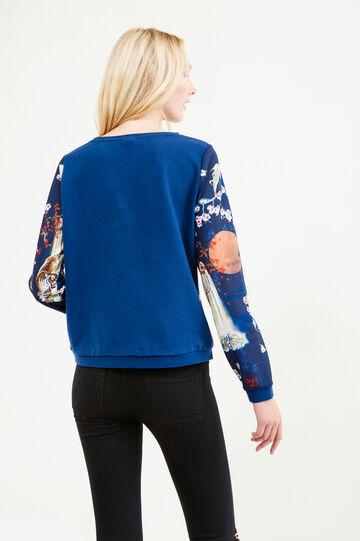 100% cotton sweatshirt with contrasting pattern, Cornflower Blue, hi-res