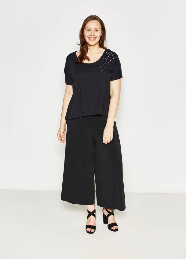 T-shirt girocollo con strass Curvy | OVS