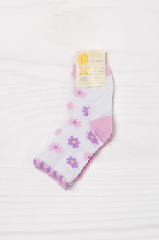 Two-pair pack cotton blend socks, White/Pink, hi-res