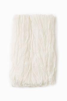 Creased effect pashmina, Cream White, hi-res
