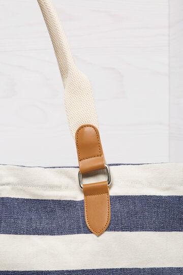 Borsa a spalla in cotone a righe, Blu navy, hi-res