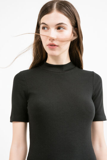 Stretch midi dress with ribbing, Black, hi-res