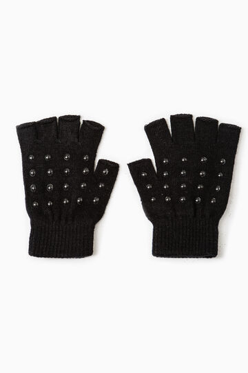 Stretch gloves with studs, Black, hi-res